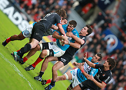 Jaun Martin Fernandez Lobbe is tackled by Maxime Medard and Yannick Jauzion. Stade Toulousain v Toulon, 11eme Journee, Top 14, Stade Ernest Wallon, Toulouse, France, 30th October 2010.