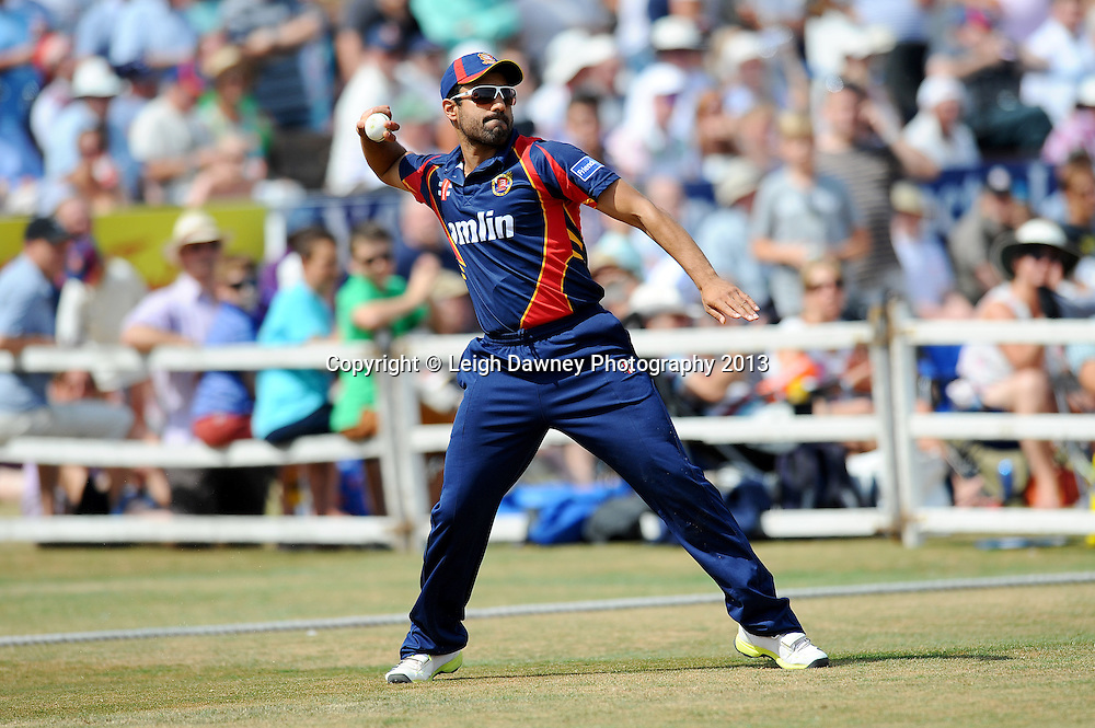 """Ravi Bopara of Essex fielding during the Friends LIfe T20 match between Essex """"Eagles & Sussex """"Sharks"""" at the Essex County Cricket Club ground, Chelmsford on 14th July 2013. Credit: Leigh Dawney. Tel 07812 790920. Self billing applies. © Leigh Dawney Photography 2013"""