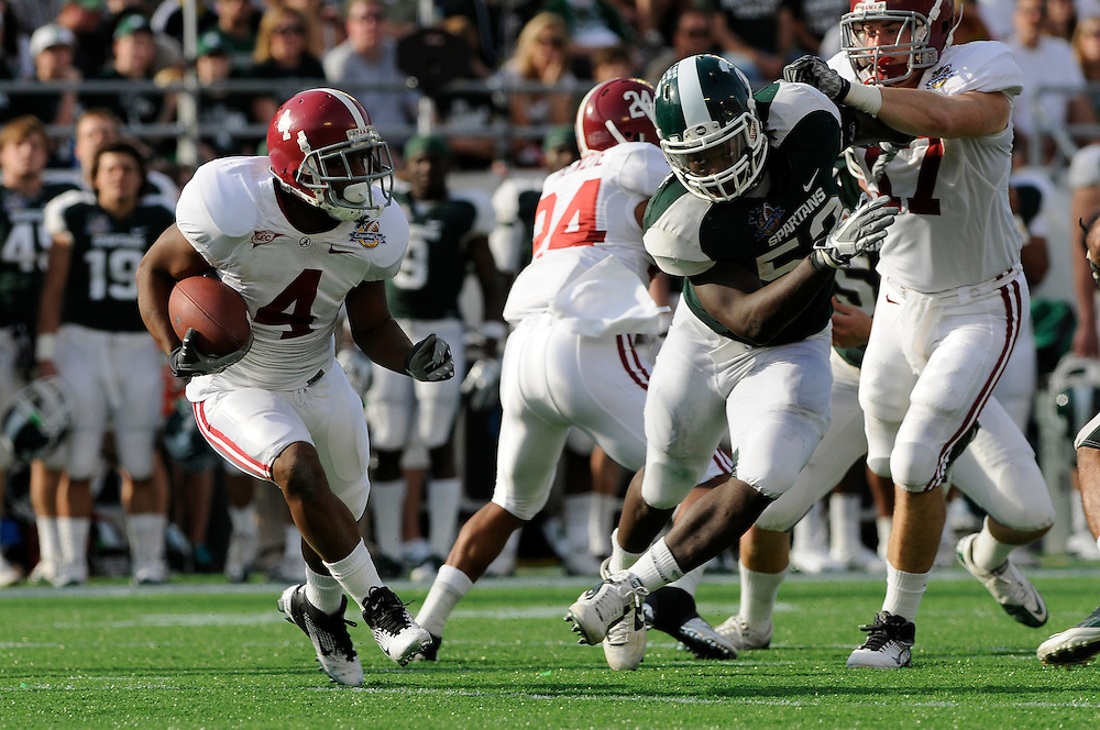 January 1, 2011: Marquis Maze of the Alabama Crimson Tide in action during the NCAA football game between Michigan State Spartans and the Alabama Crimson Tide at the 2011 Capital One Bowl in Orlando, Florida. Alabama defeated Michigan State 49-7.