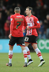 Exeter City's Alex Nicholls celebrates his goal with Exeter City's Liam Sercombe - Photo mandatory by-line: Dougie Allward/JMP - Mobile: 07966 386802 - 31/01/2015 - SPORT - Football - Exeter - St James Park - Exeter City v Tranmere Rovers - Sky Bet League Two