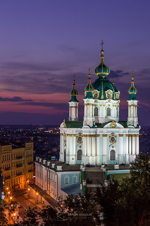 Andreevskaya Church at night, Kyiv, Ukraine. Architect: B. Rastrelli (build in 1754).
