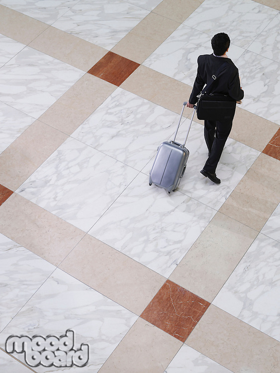 Business man walking with suitcase elevated view back view