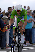 France - Tuesday, Jul 08 2008:  Wearing the green jersey as leader in the points competition, Columbia's Kim Kirchen (Lux) powers out of a corner towards La Romagne during Stage 4 of the 2008 Tour de France cycle race.  Kirchen completed the 29.5km time trial out and back to Cholet in a time of 36 mins 2 seconds which earned him second place on the podium behind Gerolsteiner's Stefan Schumacher.   (Photo by Peter Horrell / http://www.peterhorrell.com)