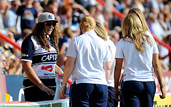 A bristol fan talks with women from the world cup winning England team - Photo mandatory by-line: Joe Meredith/JMP - Mobile: 07966 386802 - 7/09/14 - SPORT - RUGBY - Bristol - Ashton Gate - Bristol Rugby v Worcester Warriors - The Rugby Championship