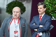 Graz, Austria - 2017 March 18: (L) Marc Angelini from Austria (CEO and VicePresident of Special Olympics Austria) and (R) Timothy Perry Shriver (Chairman of Special Olympics) look forward during Global Forum on Inclusion in Social Affairs and Sports while Special Olympics World Winter Games Austria 2017 at Convention Centre Messe Graz on March 18, 2017 in Graz, Austria.<br /> <br /> Mandatory credit:<br /> Photo by &copy; Adam Nurkiewicz / Mediasport<br /> <br /> Adam Nurkiewicz declares that he has no rights to the image of people at the photographs of his authorship.<br /> <br /> Picture also available in RAW (NEF) or TIFF format on special request.<br /> <br /> Any editorial, commercial or promotional use requires written permission from the author of image.<br /> <br /> Image can be used in the press when the method of use and the signature does not hurt people on the picture.