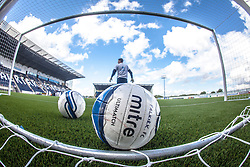 Falkirk FC keeper Michael McGovern behind a ball during the warm-up. The Falkirk Stadium, with the new pitch work for the Scottish Championship game v Morton. The woven GreenFields MX synthetic turf and the surface has been specifically designed for football with 50mm tufts compared with the longer 65mm which has been used for mixed football and rugby uses.  It is fully FFA two star compliant and conforms to rules laid out by the SPL and SFL.<br />