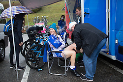 Lauren Kitchen (AUS) of FDJ Nouvelle Aquitaine Futuroscope Team prepares for the Trofeo Alfredo Binda - a 131,1 km road race, between Taino and Cittiglio on March 18, 2018, in Varese, Italy. (Photo by Balint Hamvas/Velofocus.com)