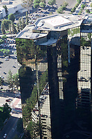 Aerial view of high rise buildings in the Warner Center in Woodland Hills, California.