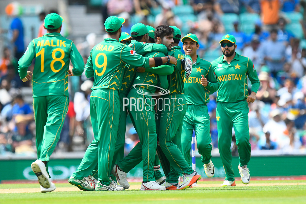 Wicket - Mohammad Amir of Pakistan celebrates taking the wicket of Rohit Sharma of India during the ICC Champions Trophy final match between Pakistan and India at the Oval, London, United Kingdom on 18 June 2017. Photo by Graham Hunt.