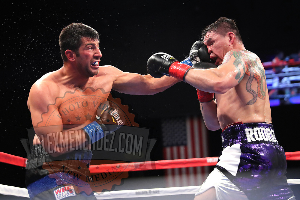 VERONA, NY - JUNE 08: Frankie Filippone punches Isaac Rodrigues in the face during the Golden Boy on ESPN fight night at Turning Stone Resort Casino on June 8, 2018 in Verona, New York. (Photo by Alex Menendez/Getty Images) *** Local Caption *** Isaac Rodrigues; Frankie Filippone