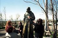 San Giovanni Rotondo.La Statua di Padre Pio consumata da le carezze dei fedeli .San Giovanni Rotondo.The Statue of Padre Pio consumed by the caresses of the faithful