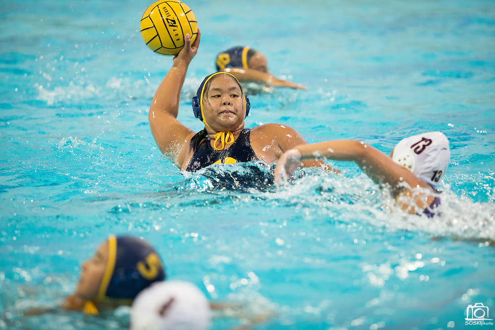 CJ Andrea Molo (14) passes the ball against Monta Vista during a girl's varsity water polo match at Milpitas High School in Milpitas, California, on September 6, 2016. (Stan Olszewski/SOSKIphoto)