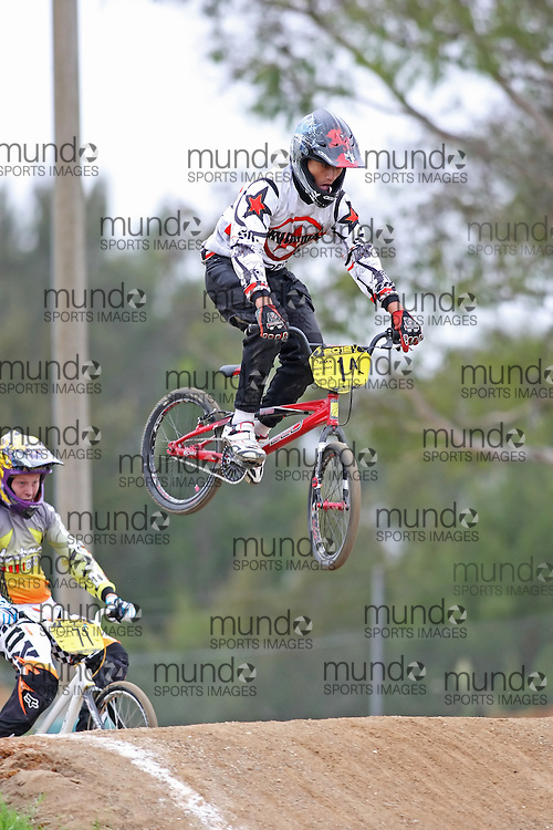 (Canberra, Australia---03 March 2012) Brandon Te Hiko of Victoria competing in stage 5 of the BMX Australia Boys under 15 Champbix series at the Melba BMX Track in Canberra, Australia. Photograph 2012 Copyright Sean Burges / Mundo Sport Images. For reproduction rights and information in Australia, contact seanburges@yahoo.com. For information elsewhere contact info@mundosportimages.com.