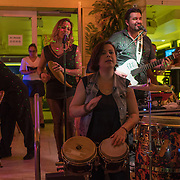 MIAMI BEACH, FLORIDA, NOVEMBER 4, 2016<br /> Live music entertain pedestrians in Miami Beach's popular Ocean Drive on a Friday night. Recent incidents of violence and crime are pushing the city of Miami Beach to try to alter the appeal of the area.<br /> (Photo by Angel Valentin/Freelance)