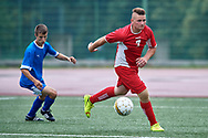 Chorzow, Poland - 2018 June 12: Special Olympics Lodzkie (red) v Special Olympics Warminsko-Mazurskie (blue) while soccer match during National Special Olympics Games 2018 at Slaski Stadium on June 12, 2018 in Chorzow, Poland.<br /> <br /> Adam Nurkiewicz declares that he has no rights to the image of people at the photographs of his authorship.<br /> <br /> Picture also available in RAW (NEF) or TIFF format on special request.<br /> <br /> Any editorial, commercial or promotional use requires written permission from the author of image.<br /> <br /> Image can be used in the press when the method of use and the signature does not hurt people on the picture.<br /> <br /> Mandatory credit:<br /> Photo by © Adam Nurkiewicz / Mediasport