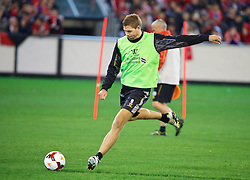 MELBOURNE, AUSTRALIA - Tuesday, July 23, 2013: Liverpool's captain Steven Gerrard during a training session at the Melbourne Cricket Ground ahead of their preseason friendly against Melbourne Victory. (Pic by David Rawcliffe/Propaganda)