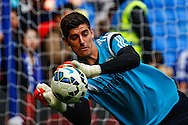Thibaut Courtois of Chelsea warms up before the Barclays Premier League match at Stamford Bridge, London<br /> Picture by David Horn/Focus Images Ltd +44 7545 970036<br /> 13/09/2014