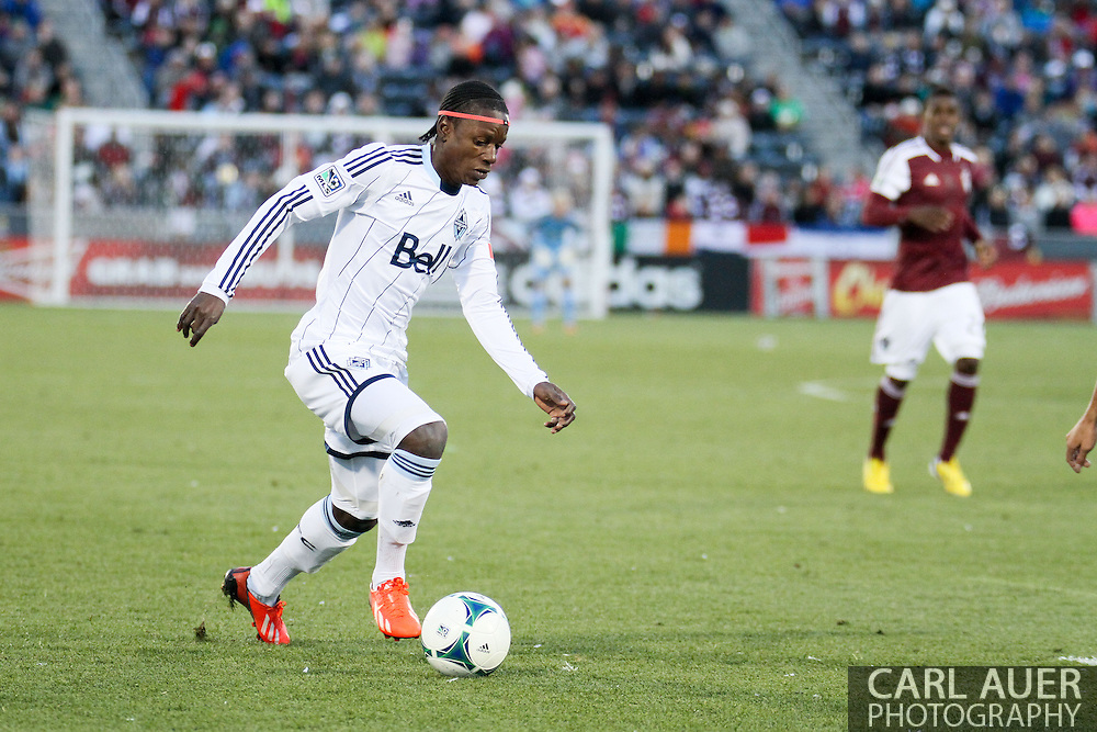 October 19th, 2013:  Vancouver Whitecaps FC forward Darren Mattocks (11) controls the ball in the second half of the MLS Soccer Match between the Vancouver Whitecaps FC and the Colorado Rapids at Dick's Sporting Goods Park in Commerce City, Colorado