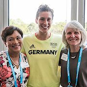 August 24, 2016, New Haven, Connecticut: <br /> New Haven Mayor Toni Harp, Andrea Petkovic of Germany, and Commissioner Catherine Smith attend the Mayor's Women's Legislators Luncheon during Day 6 of the 2016 Connecticut Open at the Yale University Tennis Center on Wednesday, August  24, 2016 in New Haven, Connecticut. <br /> (Photo by Billie Weiss/Connecticut Open)