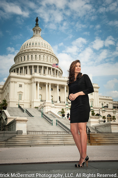 Maria Teresa Kumar stands for a portrait in front of the US Capital Building on August 17, 2012 in Washington, DC. (© 2012. Patrick McDermott Photography, LLC. All Rights Reserved.)
