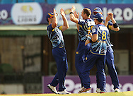 James McMillan of Otago Volts celebrates the wicket of Ammar Mahmood Khan of the Faisalabad Wolves during the Qualifier 1 match of the Karbonn Smart Champions League T20 (CLT20) between Otago Volts and the Faisalabad Wolves held held at the Punjab Cricket Association Stadium, Mohali on the 17th September 2013<br /> <br /> Photo by Ron Gaunt/CLT20/SPORTZPICS<br /> <br /> <br /> Use of this image is subject to the terms and conditions as outlined by the CLT20. These terms can be found by following this link:<br /> <br /> http://sportzpics.photoshelter.com/image/I0000NmDchxxGVv4<br /> <br /> ENTER YOUR EMAIL ADDRESS TO DOWNLOAD
