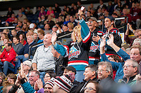 KELOWNA, CANADA - OCTOBER 22: Kelowna Rockets' fans celebrate a goal against the Calgary Hitmen on October 22, 2013 at Prospera Place in Kelowna, British Columbia, Canada.   (Photo by Marissa Baecker/Shoot the Breeze)  ***  Local Caption  ***