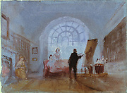 Artist Painting in a Room with a Large Window'' 1828: Joseph Mallord Willliam Turner (1775-1851) English artist.
