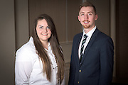 From left, Lori Bentz and Alex Kneier, Ohio University Alumni working with the C-Suite Student Entrepreneurship Team, meet in the a Central Classroom Building on West Union Street on February 1, 2017.