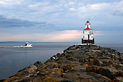 WI00191-00...WISCONSIN - Wisconsin Point Lighthouse on Lake Superior near the town of Superior.