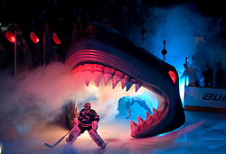 April 16, 2010; San Jose, CA, USA; San Jose Sharks goaltender Evgeni Nabokov (20) enters the ice rink under the shark head before game two in the first round of the 2010 Stanley Cup Playoffs against the Colorado Avalanche at HP Pavilion. The Sharks defeated the Avalanche 6-5 in overtime. Mandatory Credit: Jason O. Watson / US PRESSWIRE