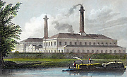 Gas Works on Regent's Canal, London. Hand-coloured engraving after TH Shepherd published 1828.