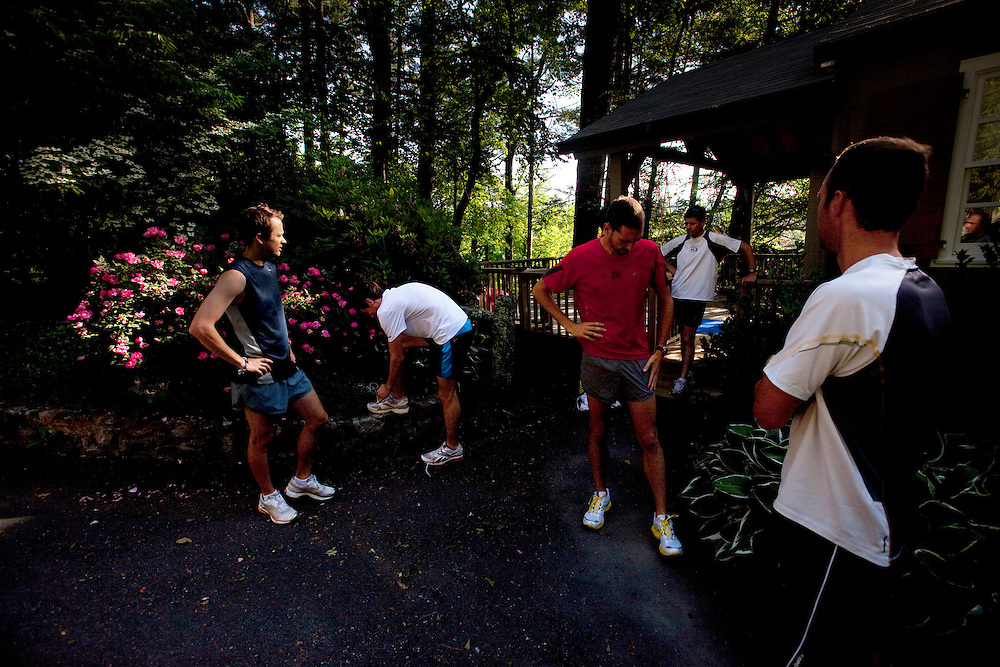 Zap Fitness athletes prepare for a run in the morning around Bass Lake at Moses H. Cone Memorial Park in Blowing Rock, NC.