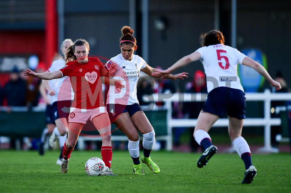 Charlie Wellings of Bristol City is challenged by Sophie Bradley-Auckland of Liverpool Women - Mandatory by-line: Ryan Hiscott/JMP - 19/01/2020 - FOOTBALL - Stoke Gifford Stadium - Bristol, England - Bristol City Women v Liverpool Women - Barclays FA Women's Super League