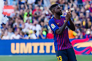 Samuel Umtiti from Camerun during the Joan Gamper trophy game between FC Barcelona and CA Boca Juniors in Camp Nou Stadium at Barcelona, on 15 of August of 2018, Spain, Photo Xavier Bonilla / SpainProSportsImages / DPPI / ProSportsImages / DPPI