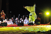 """Mohamed Issa member of the Malian group """"Tartit"""", jumps during his show at the """"III Rencontre Internationale d'Imzad"""", in Tamanrasset."""