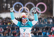 PYEONGCHANG-GUN, SOUTH KOREA - FEBRUARY 10: Krista Parmakoski of Finland celebrates her bronze during the Ladies Cross Country Skiing 7.5km + 7.5km Skiathlon on day one of the PyeongChang 2018 Winter Olympic Games at Alpensia Cross-Country Centre on February 10, 2018 in Pyeongchang-gun, South Korea. Photo by Nils Petter Nilsson/Ombrello     <br /> ***BETALBILD***