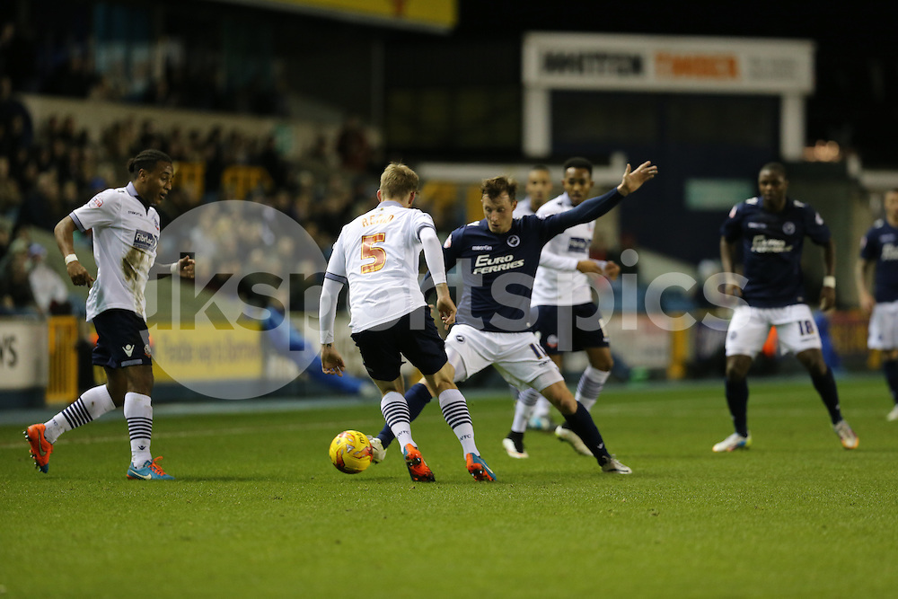 Martyn Woolford of Millwall tries to find a way through during the Sky Bet Championship match between Millwall and Bolton Wanderers at The Den, London, England on 19 December 2014. Photo by Dave Peters.