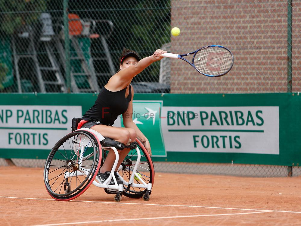 20170728 - Namur, Belgium : Dana Mathewson (USA) returns the ball during her 1/4th final match against Aniek Van Koot (NED) at the 30th Belgian Open Wheelchair tennis tournament on 28/07/2017 in Namur (TC Géronsart). © Frédéric de Laminne