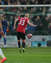 Manchester United's Paddy McNair appears to handle the ball  - Photo mandatory by-line: Joe meredith/JMP - Mobile: 07966 386802 - 04/01/2015 - SPORT - football - Yeovil - Huish Park - Yeovil Town v Manchester United - FA Cup - Third Round