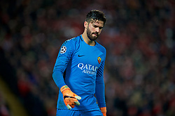 LIVERPOOL, ENGLAND - Tuesday, April 24, 2018: AS Roma's goalkeeper Alisson Becker during the UEFA Champions League Semi-Final 1st Leg match between Liverpool FC and AS Roma at Anfield. (Pic by David Rawcliffe/Propaganda)