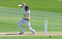 Surrey's Steven Davies cuts the ball off the bowling of Glamorgan's Craig Meschede. - Photo mandatory by-line: Harry Trump/JMP - Mobile: 07966 386802 - 20/04/15 - SPORT - CRICKET - LVCC County Championship - Division 2 - Day 2 - Glamorgan v Surrey - Swalec Stadium, Cardiff, Wales.