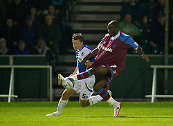 BRISTOL, ENGLAND - Tuesday, September 28, 2010: Tranmere Rovers' Enoch Showunmi and Bristol Rovers' Danny Coles during the Football League One match at the Memorial Ground. (Photo by David Rawcliffe/Propaganda)