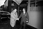 26/09/1962<br /> 09/26/1962<br /> 26 September 1962<br /> Opening of Earl Bottlers Ltd. at South Earl Street, Dublin. Minister for Justice Charles Haughey opened the new premises that produced Sandyman port. Picture shows Mr Haughey  being greeted by Mr W. Campbell, Director of Earl Bottlers.