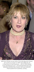 MRS SUE CREWE former wife of the late Quentin Crewe, at a party in London on 29th April 2002.OZL 21