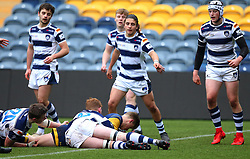 Noah Heward (Solihull School) of Worcester Warriors Under 18s scores a try - Mandatory by-line: Robbie Stephenson/JMP - 14/01/2018 - RUGBY - Sixways Stadium - Worcester, England - Worcester Warriors Under 18s v Yorkshire Carnegie Under 18s - Premiership Rugby U18 Academy