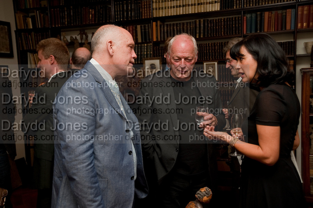 JOHN MALKOVICH; DAVID GILMOUR;POLLY SAMSON, Freud Museum dinner, Maresfield Gardens. 16 June 2011. <br /> <br />  , -DO NOT ARCHIVE-© Copyright Photograph by Dafydd Jones. 248 Clapham Rd. London SW9 0PZ. Tel 0207 820 0771. www.dafjones.com.