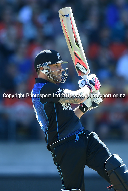 Brendon McCullum hits a 6 during the ICC Cricket World Cup quarter final match between New Zealand Black Caps and the West Indies, Wellington, New Zealand. Saturday 21March 2015. Copyright Photo: Andrew Cornaga / www.Photosport.co.nz