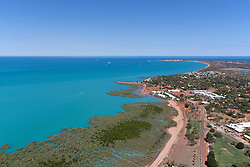 Aerial view of Roebuck Bay in Broome on a Spring tide.