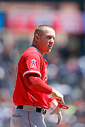 DETROIT, MI - APRIL 19: Mike Trout #27 of the Los Angeles Angels reacts against the Detroit Tigers during the game at Comerica Park on April 19, 2014 in Detroit, Michigan. The Tigers won 5-2. (Photo by Joe Robbins)