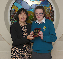 Sancta Maria College Awards 2018<br /> Ella Staunton accecpting the craft award from teacher Joan Rennick.<br /> Pic Conor McKeown